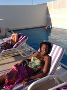 see these funny oyibo people o, sunbathing in this deep-freezer weather.